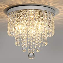 Junhong Crystal Ceiling Light LED 3 Brightness K9 Crystal Chandelier Ceiling Light Stairs Entrance Aisle Lights Lamps with...
