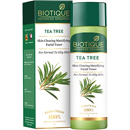 Biotique Tea Tree Skin Clearing Mattifying Facial Toner for Normal to Oily Skin Face Toner, 120ml | Treats Acne & Pimples, Tightens Pores