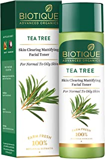 Biotique Tea Tree Skin Clearing Mattifying Facial Toner for Normal to Oily Skin Face Toner, 120ml