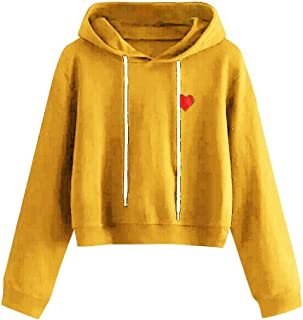 Opinionated Women's O-Neck Finger Love Print Hoodie Long Sleeve Fashion Casual Loose Crop Top Sweatshirt Hoodies