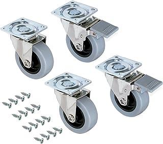 Emuca - Lote de 4 ruedas pivotantes para mueble Ø75mm con
