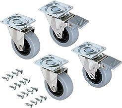 Emuca - Set aus 4 Lenkrollen für Möbel Durchmesser50mm mit Anschraubplatte und Kugellager, schwenkrollen gummi aus grau Farbe