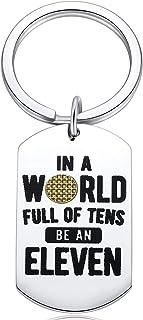 Stranger Things Keychain Fans Women Gift Jewelry In A World Full of Tens Be An Eleven Merchandise Men Keyrings Presents Ke...