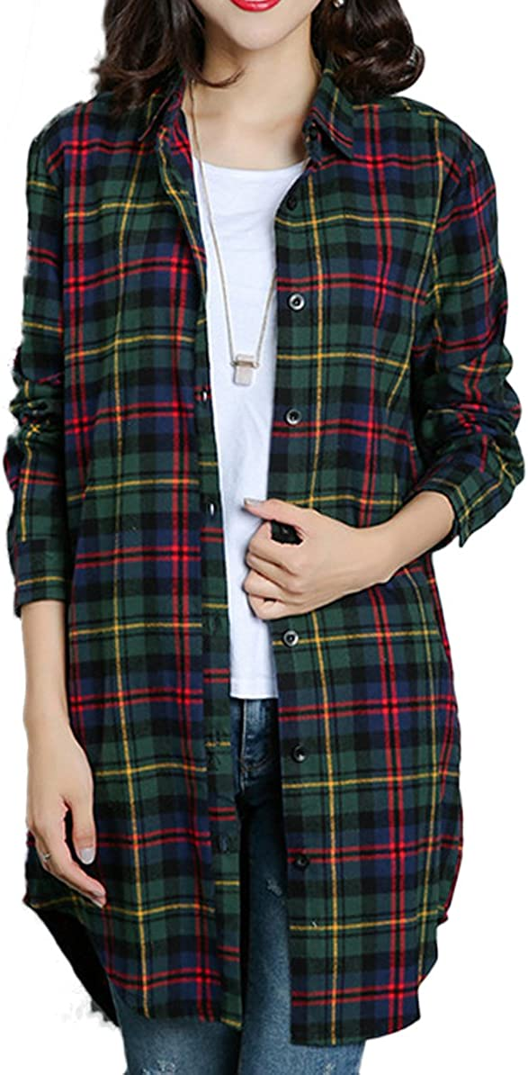 Tailloday Women's Casual Long Sleeve Button Down Checkered Plaid Shirts Long Top Blouse with Pocket
