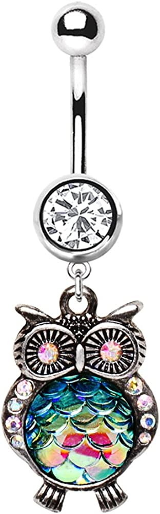 Cocobul Body Jewelry 316L Stainless Steel Jeweled Rainbow Owl Dangle Belly Button Navel Ring