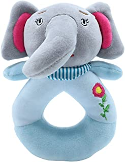 Infant Cartoon Animals Hand Rattle Grey Elephant Soft Grasping Ring Stuffed Doll Toys for Baby