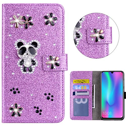 Sparkly Flip Case for Huawei P Smart 2020 Glitter Wallet Bling Case Purple Handmade 3D Panda Flip Notebook Wallet Case with Magnetic Kickstand ID Card Holder Book Style Cases Cover Huawei P Smart 2020