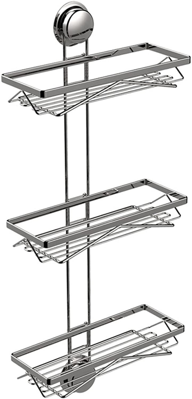Bathroom Stainless Steel Storage Rack, Three-Layer Suction Wall Rack, Bathroom Shelf Corner Rack.