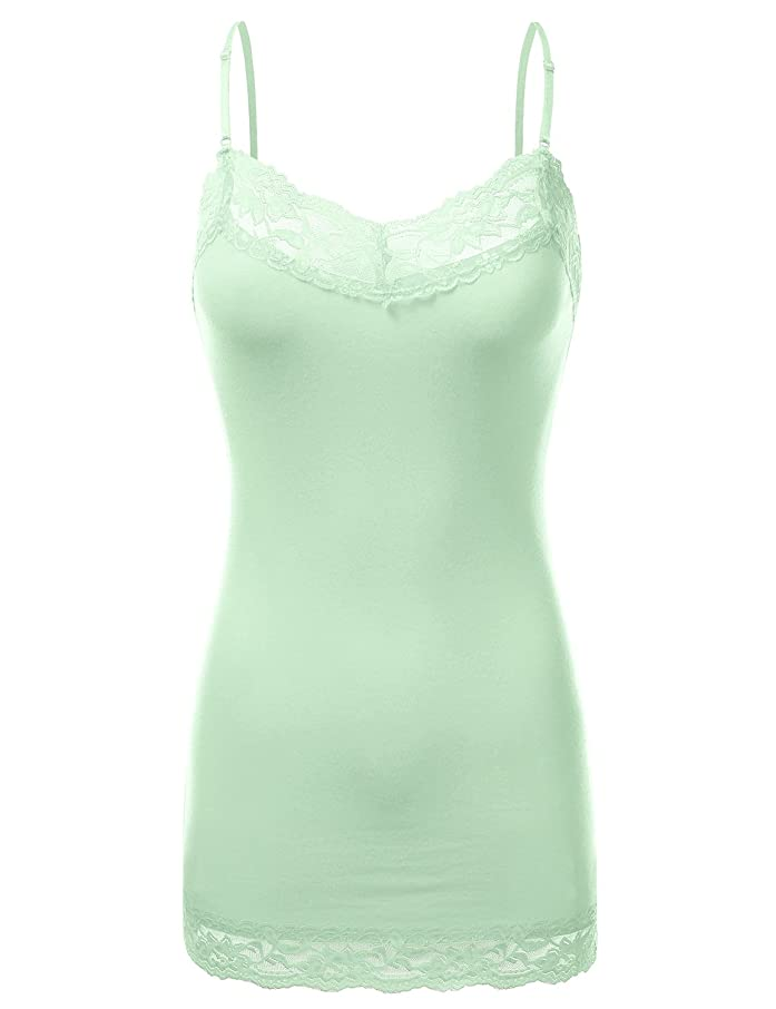 JJ Perfection Women's Adjustable Spaghetti Strap Lace Trim Cami Tunic Tank Top