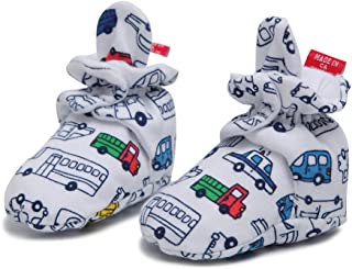 HONGLIN Unisex Baby Newborn Cozie Cotton Bootie Baby Boys and Girls Shoes Socks with Non-Slip Mat