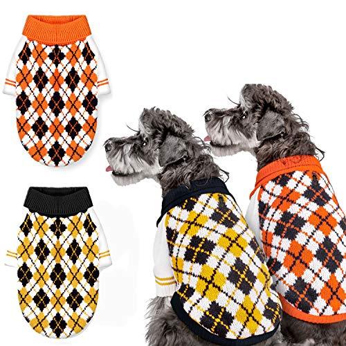 Whaline Hundepullover, gestrickt, Winterkleidung, Rollkragen, kariert, für kleine und mittelgroße Hunde, Katzen, 2 Farben, XS