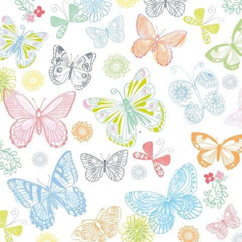 20 stück Servietten mit Schmetterling-Motiv und Schmetterlingen, Blumen. Servietten weiß mit blau leuchtenden frischen Farben, pink, Gelb und Grün, 3 cm, 3-lagig