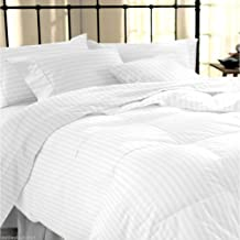 "Linenwalas Classic All Season 5* Star Hotel Duvet/AC Comforter with Cotton White Stripes Duvet Cover - 90"" X 100"""