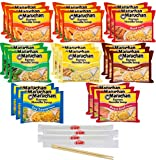 Maruchan Ramen Noodle Soup Variety, 7 Flavors, 3 Ounce Single Servings (Pack of 24) with By The Cup Chopsticks