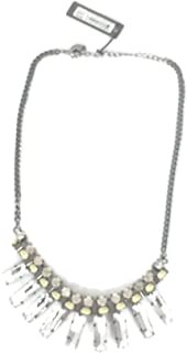 c.A.K.e. By Ali Khan Hematite tone clear crystal statement necklace,16
