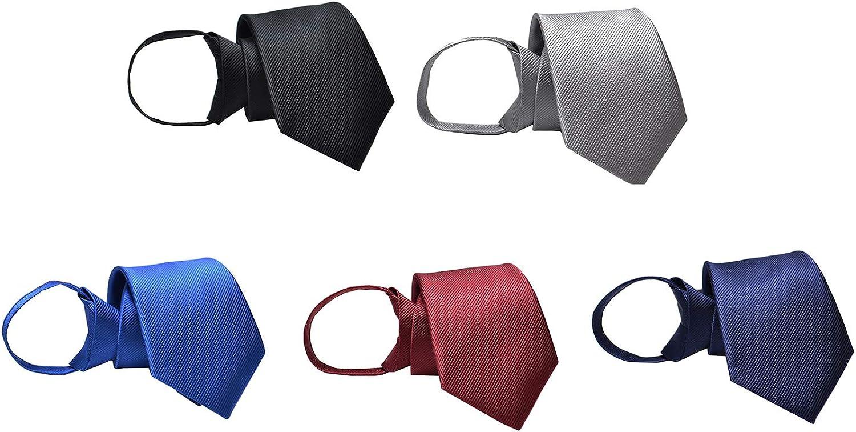 BESMODZ Men's 5 PCS Pretied Solid Color Zipper Ties Wedding Groom Zip Up Necktie