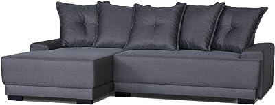 Lisa Design - Craig - Canapé d'angle Convertible 4 Places - en Tissu - avec Coffre de Rangement - Gauche