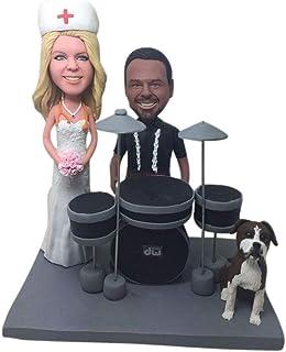 Enfermera quirúrgica DW Drum Player Pet Custom Custom Wedding Cake Topper Bobble Head Clay Figurine Basado en la foto de l...