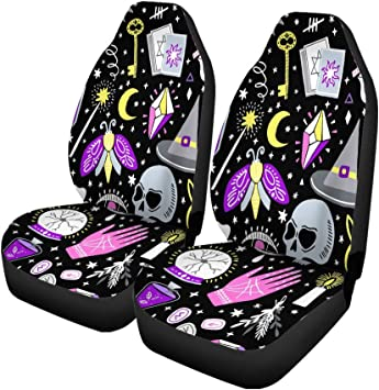 Pinbeam Car Seat Covers Pattern Magic Witch Witchcraft Alchemy Black Bohemian Drawing Esoteric Set of 2 Auto Accessories Protectors Car Decor Universal Fit for Car Truck SUV: image