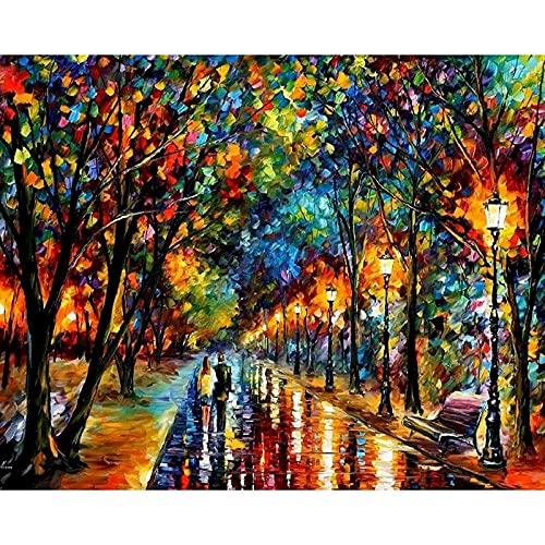 Pintura de paisaje por número, dibujar sobre lienzo con imágenes para adultos, pintura acrílica, color por número, arte decorativo W11 60x75cm