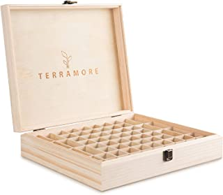 Essential Oil Case/Box by Terramore. Large 68 Bottle Storage Organizer. Natural Pine Wood. Holds 56ea 5-15ml Bottles And 12ea Roll-On Bottles.