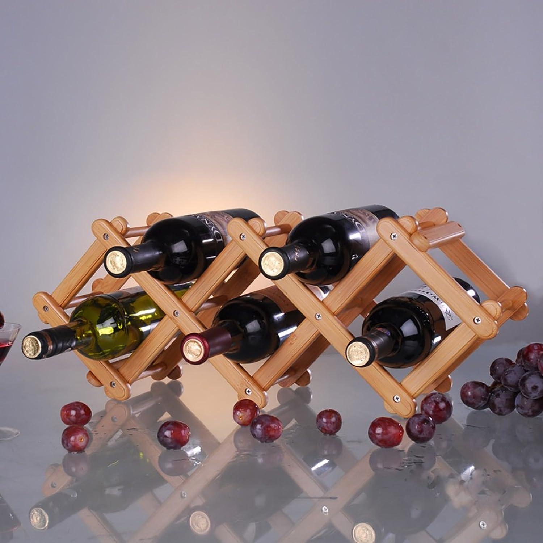 perfecto YXQ Meng Zongzhu Original Madera Madera Madera Color Escritorio Simple Estilo Europeo Suave y Robusto Fuerte y Estable Carga de la Forma de Onda Durable Almacenamiento Plegable 5 Botellas de Vino Tinto Estante del  cómodamente