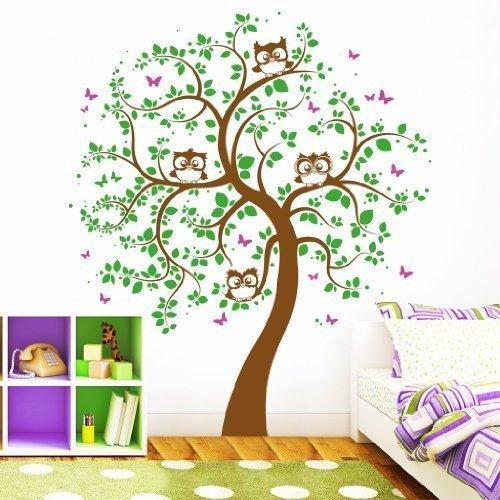 """Wandtattoo """"Vier Eulen auf einem Baum"""" (3farbig) in Ihren Wunschfarben von Wandtattoo-Loft® / BITTE TEILEN SIE UNS IM ANSCHLUSS DER BESTELLUNG IHRE WUNSCHFARBEN MIT! / Bäumchen mit Eulen Kinder / 49 Farben / 4 Größen / braun / 126 x 148 cm"""