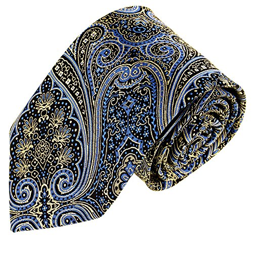 Lorenzo Cana - Marken Krawatte aus 100% Seide Blau Gold Silber Paisley Schlips Binder - 84565
