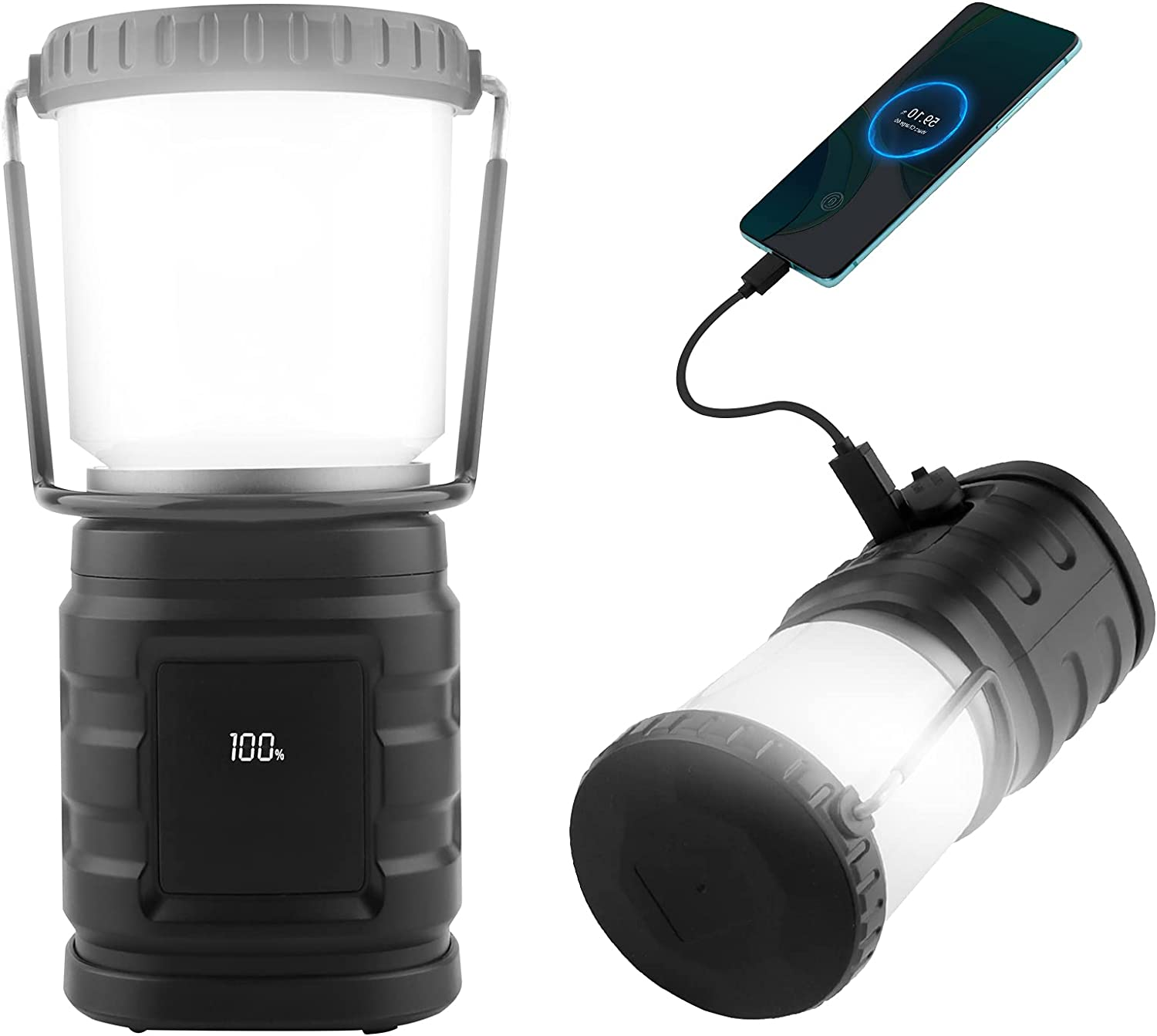 Translated DeBizz Superior 360 LED Camping Lantern Light Rechargeable Bright Super