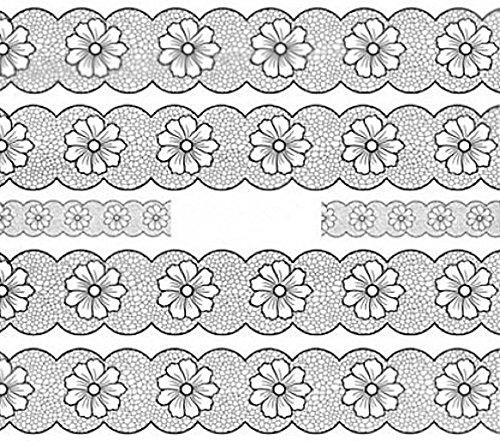 CM Nail Art manucure Stickers Ongles décalcomanie Scrapbooking: 5 Bandes Motifs Fleurs résille