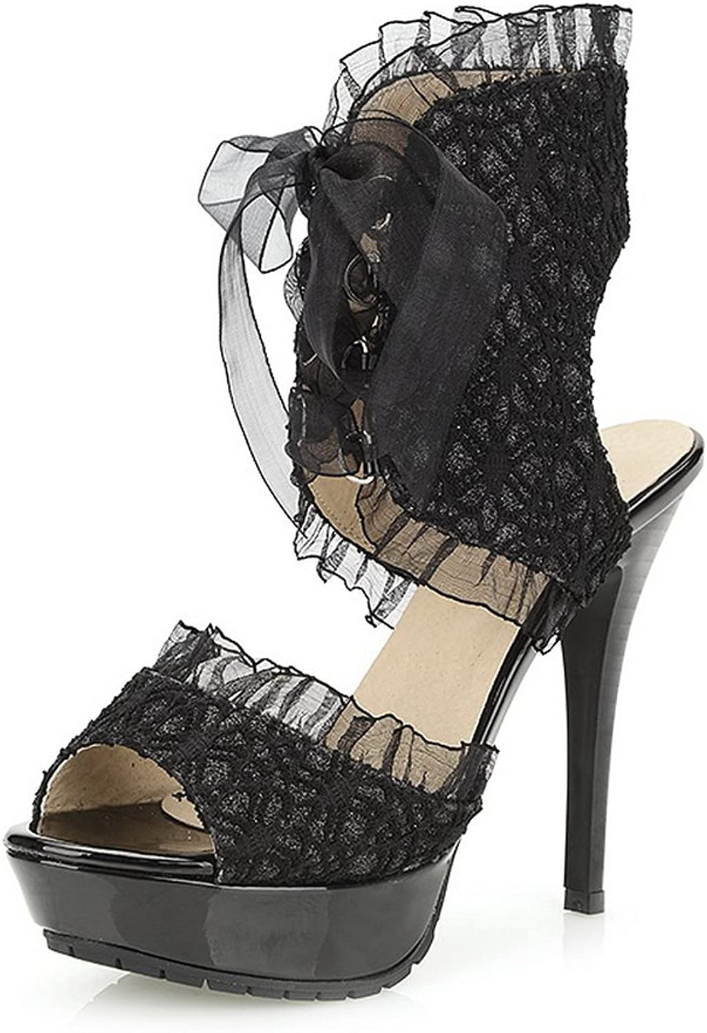 1TO9 Ladies Ribbons Lace-Up Black Soft Material Sandals - 7.5 B(M) US