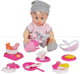Huang Cheng Toys 18 PCS 12 Inch Doll with Clothes Kitchen Toy Birthday Gift Doll Accessories Cooking Cookware for Girls