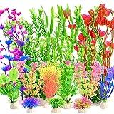 YMHPRIDE 22 Piezas de Plantas de plástico para acuarios, Plantas acuáticas Artificiales, Plantas Grandes para acuarios, Plantas acuáticas Falsas realistas, decoración de acuarios