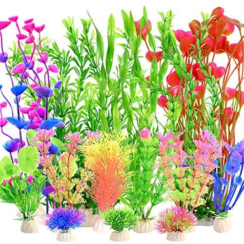 YMHPRIDE 22PCS Aquarium Plastic Plants, Artificial Aquatic Plants Assorted Color, Large Aquarium...