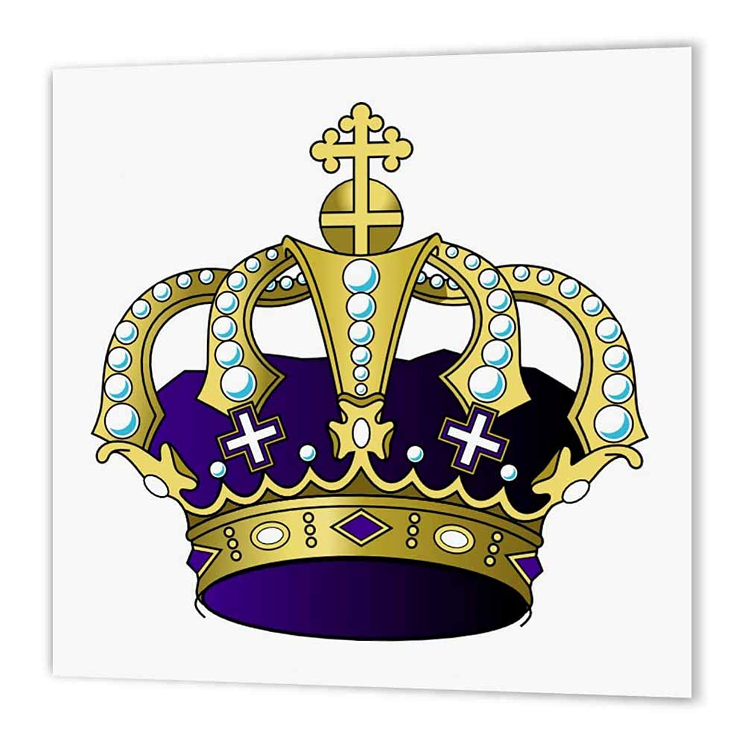 3dRose ht_41671_2 Royal Purple N Gold Crown-Iron on Heat Transfer for White Material, 6 by 6-Inch