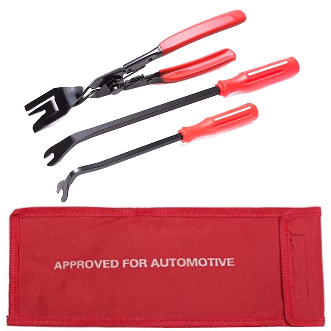 UTSAUTO 3 Pcs Clip Pliers Set & Fastener Remover Auto Trim Removal Tool Kit Auto Upholstery Combo Repair Kit with Storage Bag for Car Door Panel Dashboard