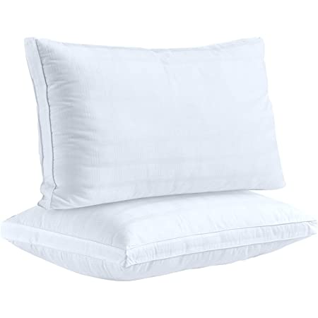 Down Alternative Pillows For Sleeping Plush 2 Pack Standard 100 Cotton Cover Best Hotel Bed Pillows With 2 Gusset Gel Fiber Filled Bed Pillow By The Duck And Goose Co Kitchen