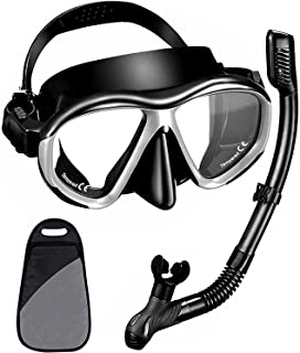 Snorkel Set, Dry Snorkeling Gear Panoramic Wide View Mask with Anti Fog Tempered Glass, Anti Leak Snorkel Gear with Adjust...