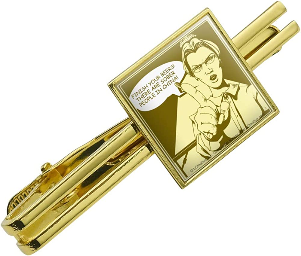 GRAPHICS & MORE Finish Your Beers Sober People in China Funny Humor Square Tie Bar Clip Clasp Tack Gold Color