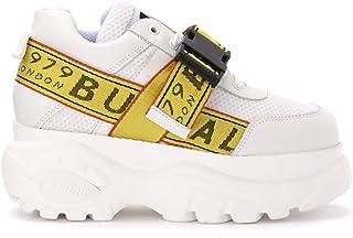 Buffalo Woman's Sneaker Galip in Pelle Bianca Con Platform