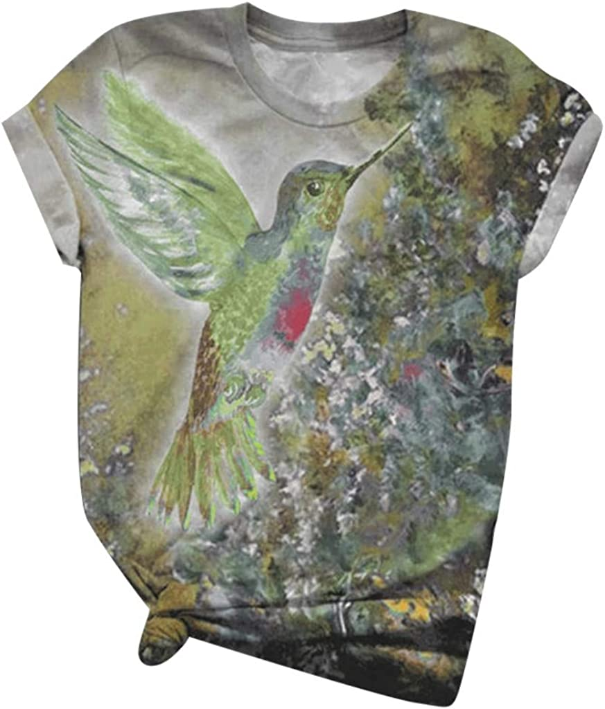 Womens Short Sleeve Tops, naioewe Bird Animal Print Shirts for Women Plus Size O-Neck T Shirt Blouse Tops Graphic Tees
