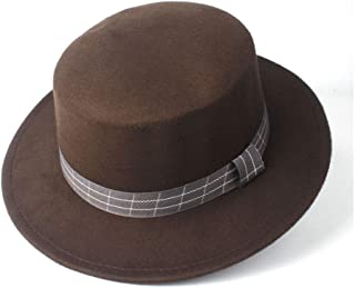 HongJie Hou Fashion Men Women Flat Top Fedora Hat Trilby Church Hat Wide Brim Jazz Hat Lady Fascinator Casual Wild Hat Size 56-58CM