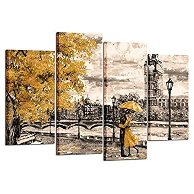 Kreative Arts - 4pcs Canvas Prints Contemporary Wall Art Yellow Umbrella Couple in Street Big Ben Oil Painting Printed on Canvas Romantic Picture Framed Artwork Prints for Home Decor