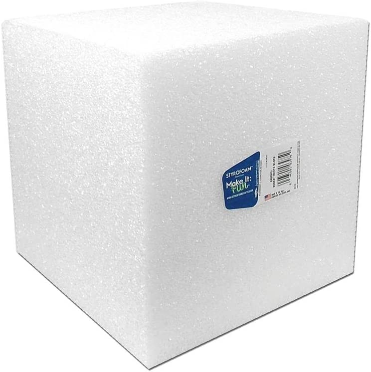 FloraCraft FLOB888WU Styrofoam Cube Bulk 8x8x8 White
