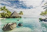 Tahiti - Beach Bungalows & Palm Trees 9031643 (Rompecabezas Premium de 500 Piezas para Adultos, 13 x 19, Fabricado en EE. UU.) - 500 Piezas 13 x 19