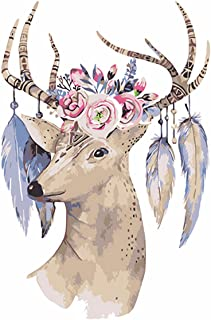 Diamond Painting - Full Drill Rhinestone Embroidery Arts Craft,Romantic Canvas Wall Decor Mysterious Christmas, Flower Head Deer (6.3x7.9 inch)