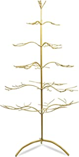 """Tripar Metal Ornament Display Tree and Jewelry Organizer – 36"""" Wire Ornament Stand and Necklace Holder Décor with 5 Tiers of Branches, Perfect for Wrought Iron Trees Gold"""