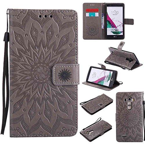 pinlu® PU Leder Tasche Etui Schutzhülle für LG G4 (5,5 Zoll) Lederhülle Schale Flip Cover Tasche mit Standfunktion Sonnenblume Muster Hülle (Grau)