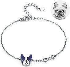 H-Rose Mascot Loyal Partners Blue French Bulldog Pet Bracelets 925 Sterling Silver Cute Animal Charm Bangle Adjustable Jewelry Gift Keepsake