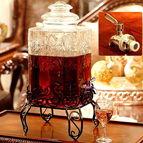 HYXQYJP Drank Dispenser,Mason Jar Clear Glass Drink Dispenser met RVS Spigot,Glaswerk Water Pitcher voor horeca, Buffet of thuisgebruik